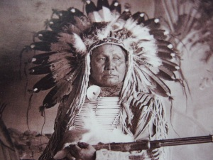 As a young man, White Bear fought with the Dakota Sioux at Pryor Creek.